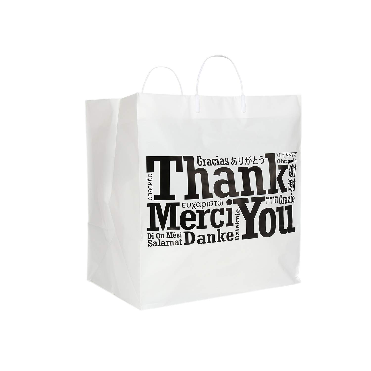 Royal Recyclable Plastic Shopping Bags with Rigid Handles, 14'' x 10'' x 15'', Multilingual''Thank You'' Design, Case of 100 by Royal (Image #1)