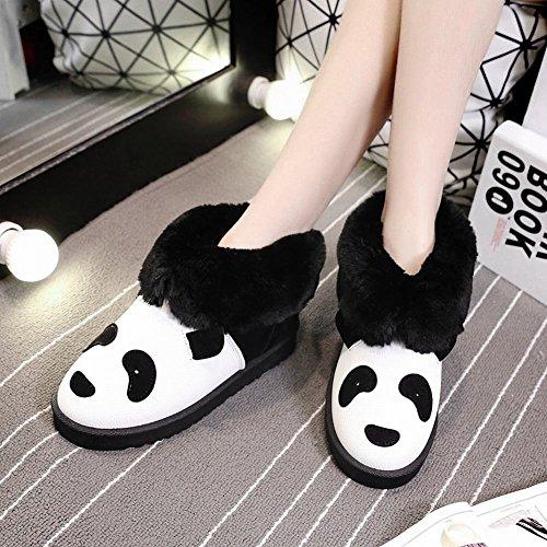 Show Shine Womens Fashion Faux Fur Flats Stivali Stivaletti Snow Boots Neri
