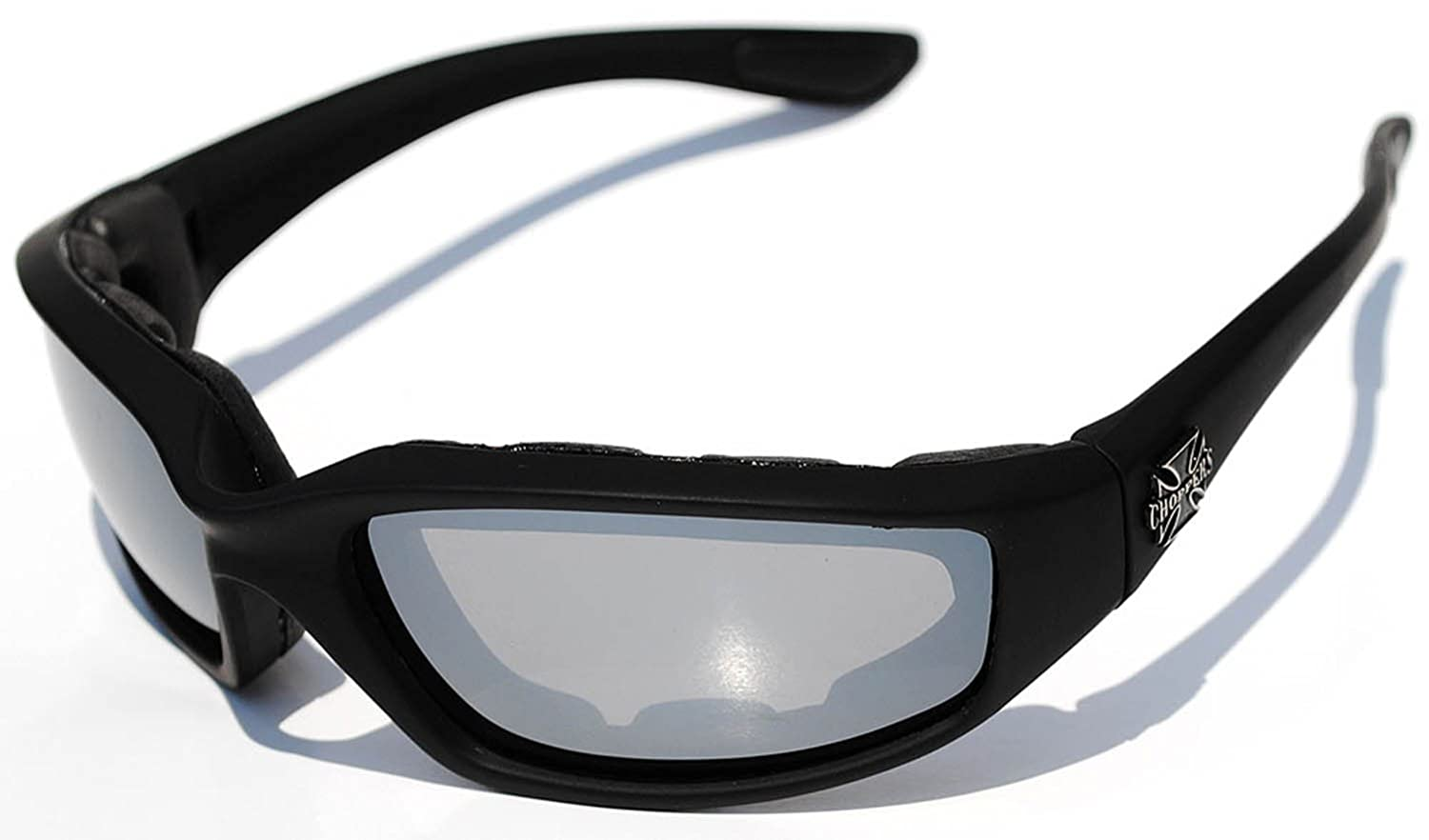 b5f01f9cc0 Amazon.com  Night Driving Riding Padded Motorcycle Glasses 011 Black Frame  with Yellow Lenses (Black - Amber Lens)  Clothing
