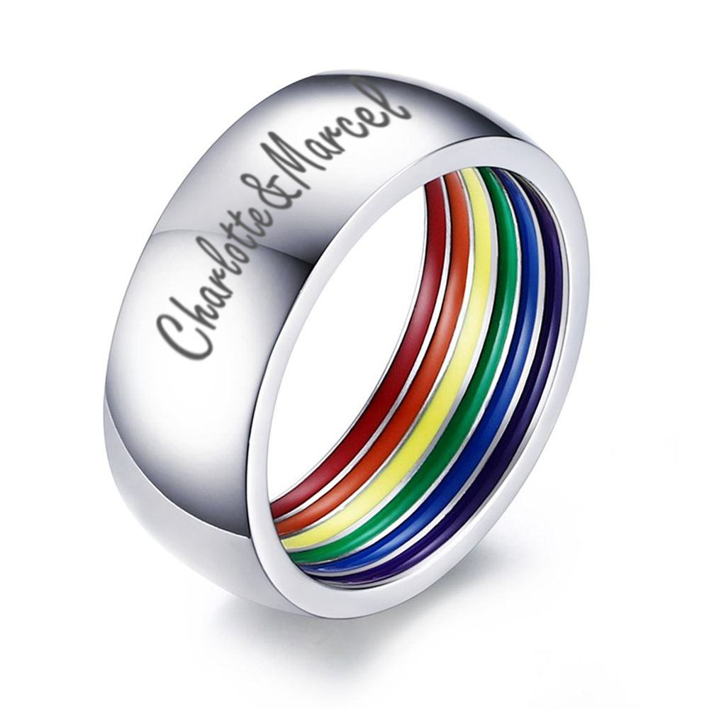 XUANPAI Custom Engraving Stainless Steel Wedding Band Gay Lesbian LGBT Pride Ring,Personalized Gift,8