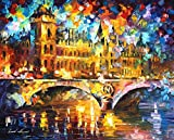 RIVER CITY is a 100% hand painted oil painting on Canvas by Leonid Afremov – Recreation of an older painting Picture