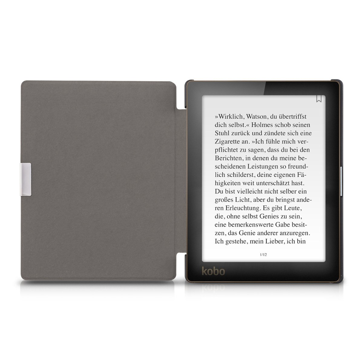 kwmobile Case for Kobo Aura Edition 1 - Book Style PU Leather Protective e-Reader Cover Folio Case - white black by kwmobile (Image #5)