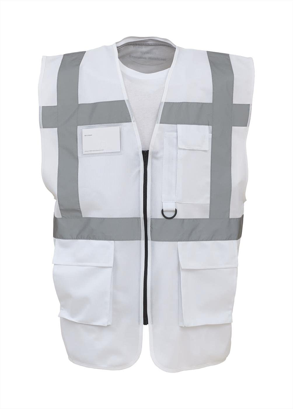 Coloured Hi Vis Executive Vest High Viz Vests Zip with Pockets XL, Yellow//Black 18 Colours