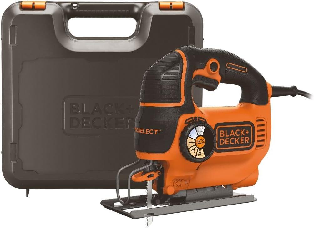 Black+Decker KS801SEK-QS KS801SEK-QS-Sierra de Calar 550W AutoSelect Pendular con maletín, 550 W, 230 V, Naranja, Negro