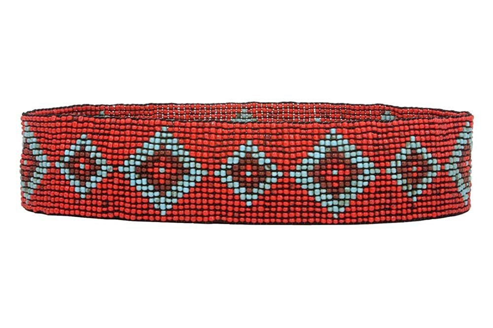 MONIQUE Women Elastic Diamond Pattern Southwest Beaded Stretch 60mm Wide Belt,Red One-size-fits-all