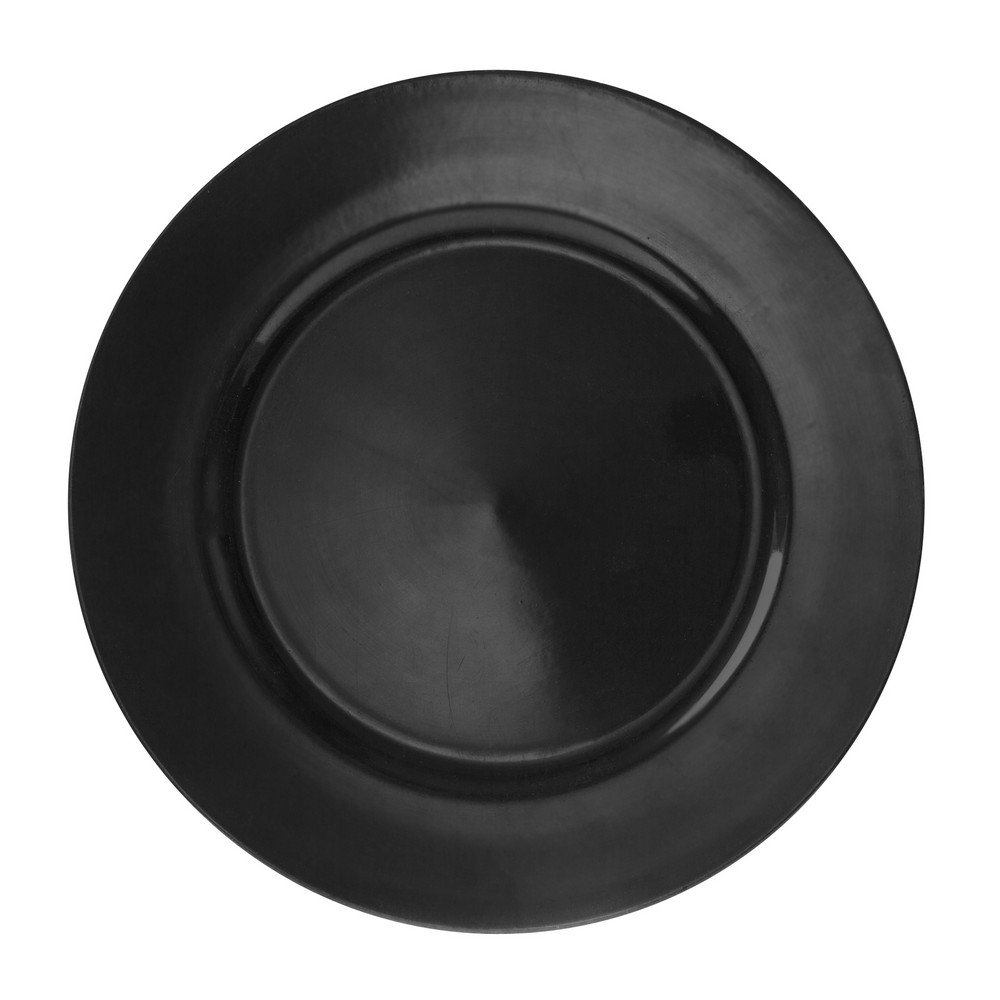 10 Strawberry Street 13'' Lacquer Round Charger Plate, Set of 6, Black
