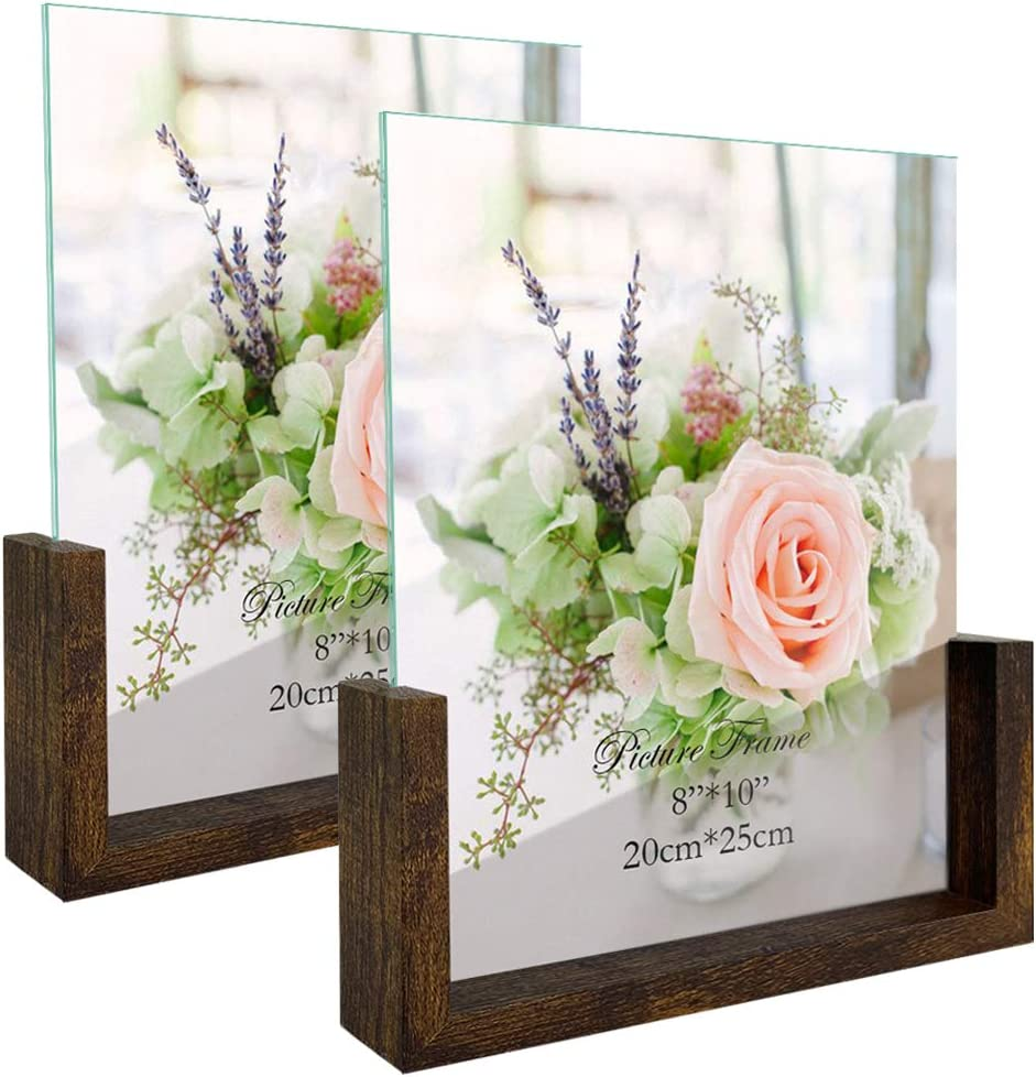 8x10 Rustic Picture Frame Set of 2, 8 by 10 Inch Vertical Double Sided Photo Frames for Desktop or Tabletop Decor