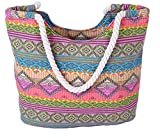 Pulama Womens Large Beach Tote Canvas Shoulder Bag Wave Striped Anchor Summer Handbag Top Handle Bag Straw Beach Bag (Boho Figure)