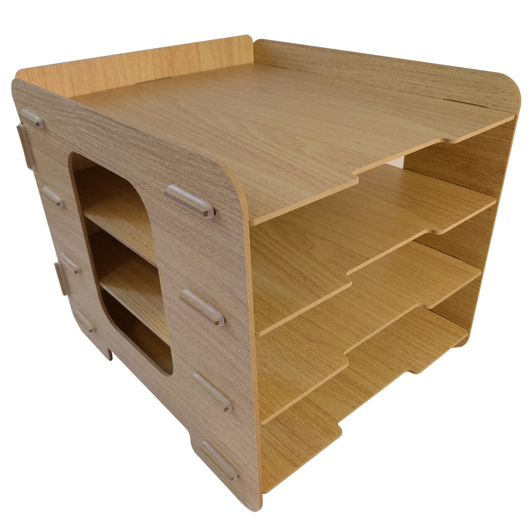 Wood Grain Desk Paper Organizer Sturdy Office Letter Tray! Easy Fast Assembly A4 File Sorting 4 Tier
