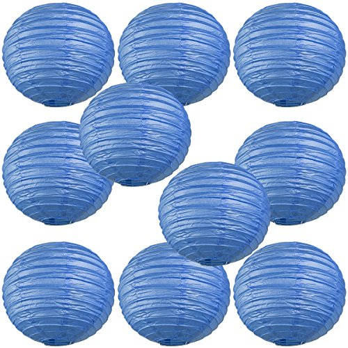 WYZworks-Round-Paper-Lanterns-10-Pack-Flat-Blue-8-with-8-10-12-14-16-option