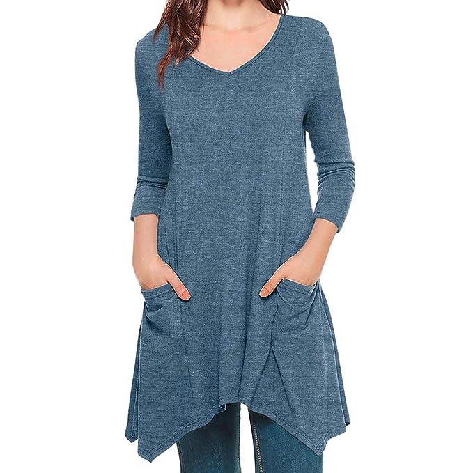 Blusa de Mujer Color Sólido Manga Larga Redonda Pull-Over Tops Camisa con Bolsillo ❤ Manadlian: Amazon.es: Ropa y accesorios