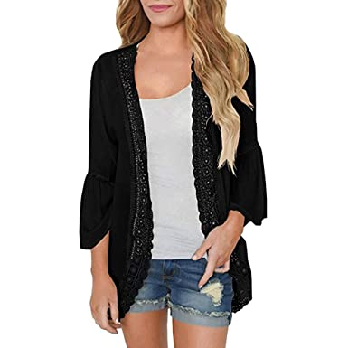 Sale! Teresamoon Womens Casual Solid Lace Long Sleeve Chiffon Cardigan Loose Kimono Blouse Tops