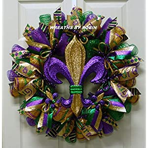 Mardi Gras, Fleur de Lis Wreath, Mardi Gras Decorations, Fat Tuesday (3303-1) 5