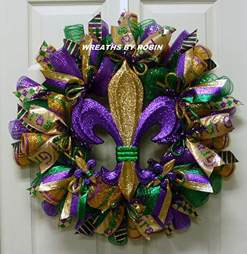 7dab3f0e1b1 Amazon.com: Mardi Gras, Fleur de Lis Wreath, Mardi Gras Decorations ...