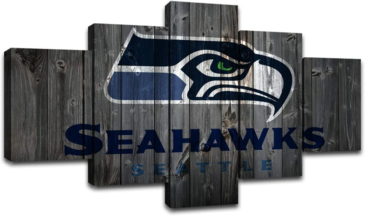 MIAUEN Seattle Seahawks Wall Pictures Canvas Art Poster Living Room Decor Sports Football Home Game Room Decoration Prints Framed Painting Ready to Hang(60''Wx32''H)