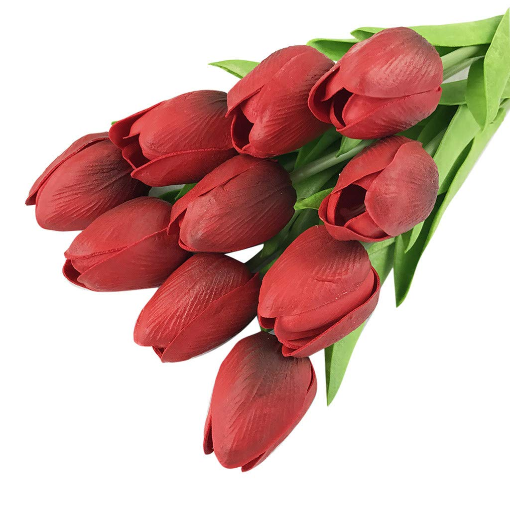 Sonmer Artificial Tulip Flower,for Bridal Wedding Bouquet Home Decor (Pack of 20) (A)