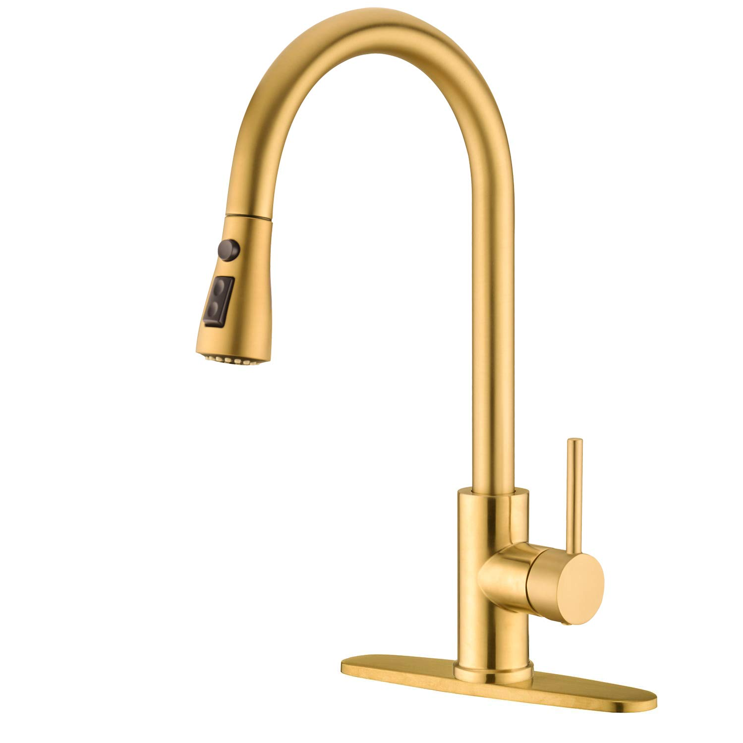 Gold Kitchen Sink Faucet with Pull Out Sprayer Delle Rosa Pause Function 2 Water Mode 360 Degree Swivel High Acr Single Handle Pre-rinse Kitchen Faucet