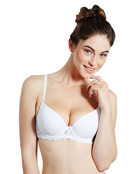 Guy de France 301048-2 Womens Ginette White Lace Padded Underwired Push Up Bra 65A