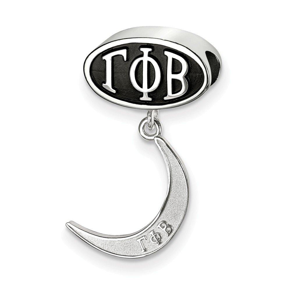 ソリッド925スターリングシルバーGamma Phi Beta Letters Oval with三日月Dang Bea   B076C1JFJR
