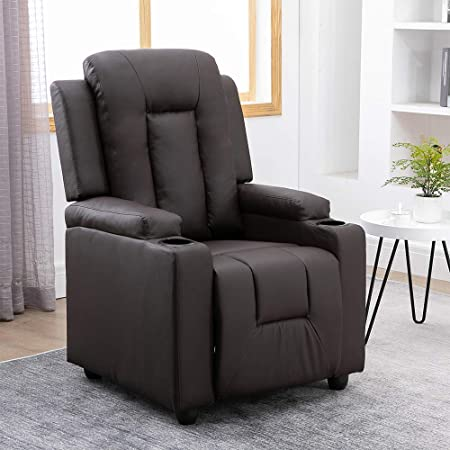 BOJU Brown Living Room Recliner Chair Armchair with Cups Holder Footrest PU Leather Bedroom Single Sofa Chair Adjustable Push Back Reclining Chairs