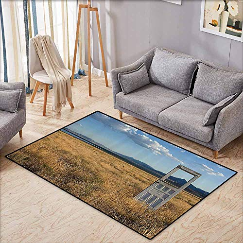 Door Rug for Internal Anti-Slip Rug Antique Decor an Old Door Standing Alone in A Grassy Field with Mountains Summer Sky in The Background Anti-Fading W5'9 xL4'9