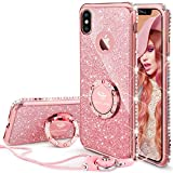 #10: iPhone X Case, iPhone 10 Case, Glitter Cute Phone Case Girls with Kickstand, Bling Diamond Rhinestone Bumper Ring Stand Sparkly Luxury Thin Soft Protective iPhone X Case for Girl Women - Rose Gold
