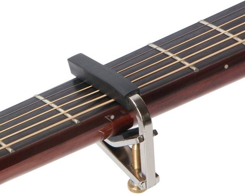 Guitarra afinador de guitarra Mental Capo Tuner Chromeplate Capo instrumentos musicales Accesorios for la guitarra eléctrica Ukulele caliente ajustable Durable