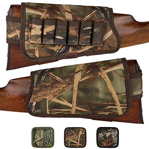 BronzeDog Nylon Shotgun Shell Holder Adjustable Buttstock Pouch Padded Rifle Cheek Rest Hunting Accessories 12 16 Gauge Right Left Handed (Brown Cane Camo Right)