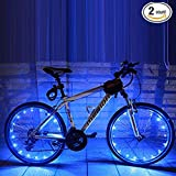 Soondar 2-Pack Water-resistant USB-Chargeable Wheel Light LED Bicycle Safety Light Lightweight Accessory with Rechageable Battery - Blue