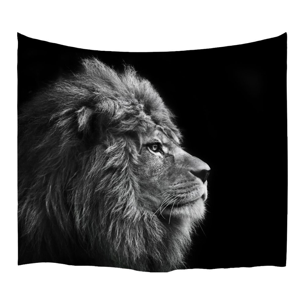 XINYI Home Wall Hanging Nature Art Polyester Fabric Lion Theme Tapestry, Wall Decor For Dorm Room, Bedroom, Living Room, Nail Included - 80'' W x 60'' L (200cmx150cm) - Grey Lion Head