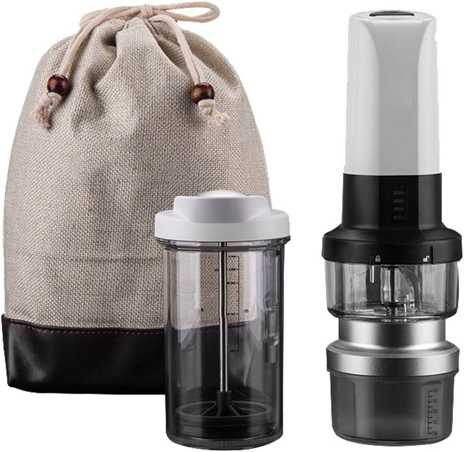 Shopps Juego de cafetera eléctrica con luz de Campamento al Aire Libre, Molinillo de café con núcleo de cerámica Integrado de Carga USB Ajustable, se Adapta a Viajes, Fiesta en el jardín
