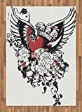 Modern Area Rug by Lunarable, Tattoo Style Heart Crown with Wings Artictic Love Valentines Gothic Romance Graphic, Flat Woven Accent Rug for Living Room Bedroom Dining Room, 5.2 x 7.5 FT, Black Red