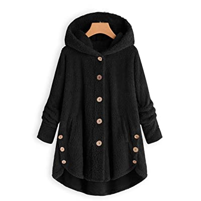 Bloomn Fleece Winter Coat Plus Size,Women Warm Parka Hooded Zipper Jacket: Clothing