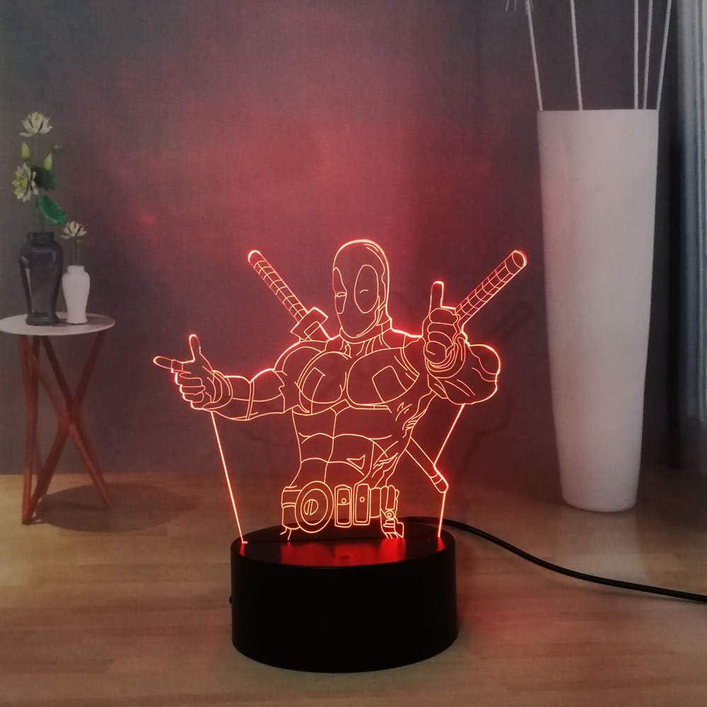 Laysinly Marvel Movie Deadpool 3D Illusion Night Light, 7colors Desk Lamp, Deadpool Figures LED Night Light, 3D Acrylic Table Lamp, Child Birthday Xmas Gift, Marvel Fans Souvenir