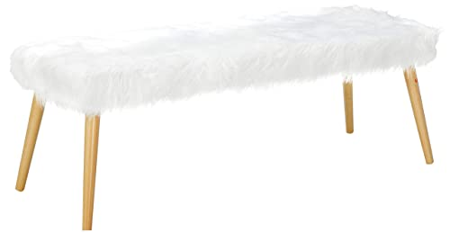 Christopher Knight Home Living Majestic Mid-Century Long Hair Faux Fur Ottoman White