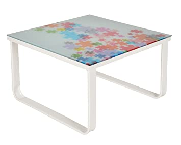 ts-ideen Glastisch Beistelltisch Couchtisch mit Design Puzzle 6 mm  Kaffee-Tisch 55 x 55 cm