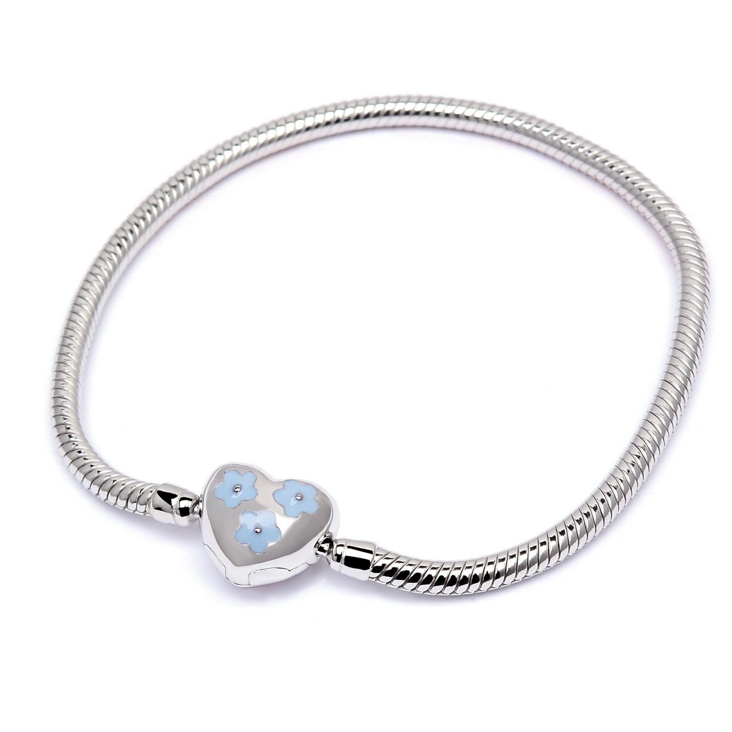 QILMILY 925 Sterling Silver Heart Charm Bracelets for Women Teen Girls Charm Bracelets without Charms Chain Thanksgiving Charm Bracelet with Heart Bead Charm European Clasp