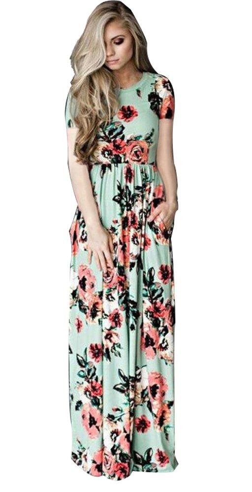 Sibylla Women's Short Sleeve Printing Dress Round Neck Boho Plus Size Long Maxi Dress for Beach Party