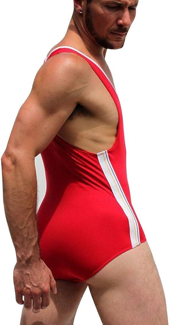 YiZYiF Mens One Piece Holographic Bulge Pouch Wrestling Singlet Jock Leotard Bodysuit Underwear