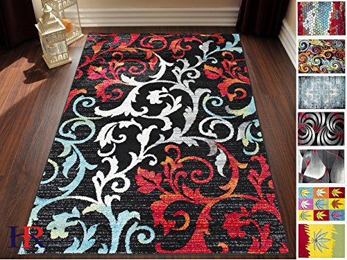 Seventeen Swirls Rug (Handcraft Rugs-Turquoise/Ivory/Orange/Red/Black -Faded, Allover Floral Distressed Area Rug Swirls Area Rug Abstract, Floral-(8x10 feet))