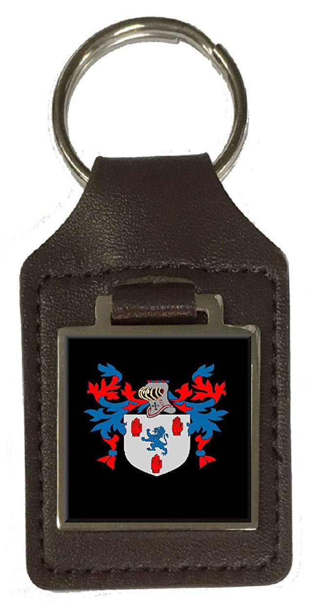 Adair Family Crest Surname Coat Of Arms Brown Leather Keyring Engraved