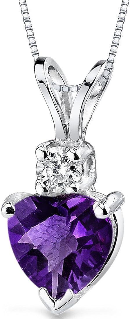 14 Karat White Gold Heart Shape 0.75 Carats Amethyst Diamond...
