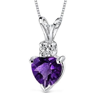 8ef6769870707 14 Karat White Gold Heart Shape 0.75 Carats Amethyst Diamond Pendant