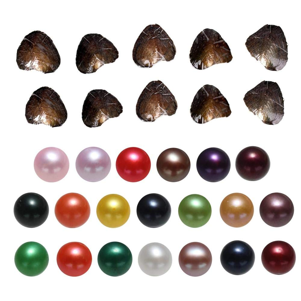 New Pearl Oyster, 20PC Freshwater Cultured Love Wish Oysters with Round Pearls Inside Mixed Color (7-8mm)