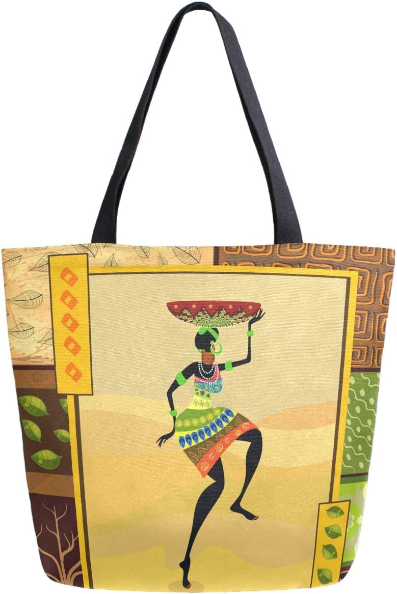 ZzWwR Ethnic African Woman Extra Large Canvas Beach Travel Reusable Grocery Shopping Tote Bag Market Portable Storage HandBags
