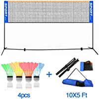 ANGELIA COMEAUX Portable Height Adjustable Outdoor Badminton Net Set with Stand and Carry Bag +4pcs LED Badminton for Volleyball Tennis