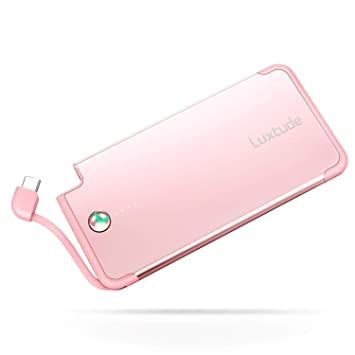 Luxtude Cargador Portatil para Movil 5000mAh, Cable Tipo C Incorporado, Powerbank Slim con Cable USB C Incorporado, Bateria Externa Ultrafino y Ligero ...