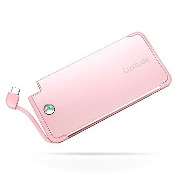 Luxtude Cargador Portatil para Movil 5000mAh, Cable Tipo C Incorporado, Powerbank Slim con Cable USB C Incorporado, Bateria Externa Ultrafino y Ligero ...