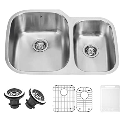 VIGO 30 Inch Undermount 70/30 Double Bowl 18 Gauge Stainless Steel Kitchen  Sink With