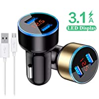 VBTEK Quick Charge 3.1A Dual Port Car Charger with LED Indicator + Free Micro USB Cable
